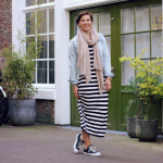 Outfit: Gestreepte maxidress